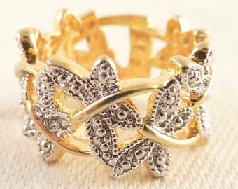 Vintage Size 6 Linked Rhinestone Butterflies Gold-plated Sterling Ring