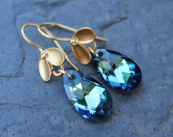 Bermuda Blue & Gold Bud Earrings - brilliant faceted blue green Swarovski crystal drops on 24k gold plated sterling silver hooks