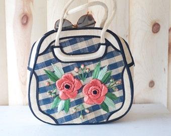 Vintage 1980s Woven Straw Handbag // Souvenir Purse // Boho Chic // Natural Purse