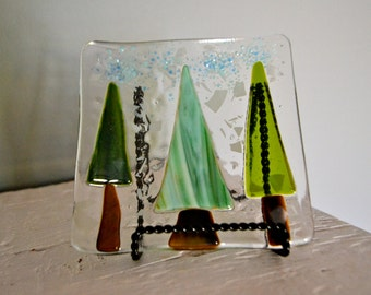 Three Trees Fused Glass Plate