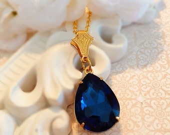 Bridesmaids Gifts on a Budget - Navy - Fall Wedding Necklace - Timeless - CAMBRIDGE Navy