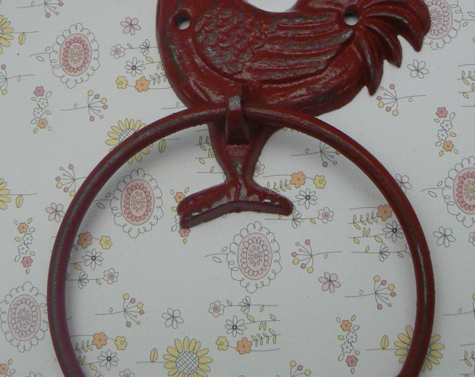 Rooster Cast Iron Colonial Red Wall Small Hand Towel Ring Country Chic Bathroom Kitchen Decor Shabby Style Chic Cottage Distressed