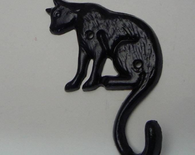 Cat Hook Cast Iron Black Kitty Feline Home Decor
