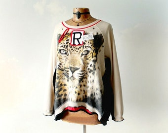 Leopard Sweatshirt Recycled Clothing Women Slouchy Top Fun Clothes Boho Fashion Oversize Shirt Pullover Sweater Altered Eco Wear L XL 'LEXY'