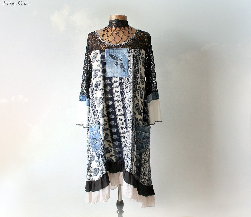 Shabby Chic Dress Romantic Clothing Blue Denim Rustic Country