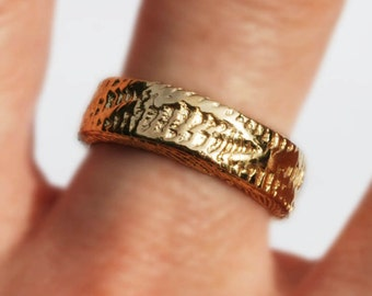 READY TO SHIP-14k Gold Plated Brass Thick Solid Snakeskin Cuttlefish Cast Ring