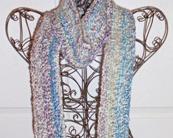 Hand Crocheted Scarf - SUPER SOFT Homespun Yard in Tudor Blue - Women's Fashion Scarf, Woman's Apparel, Scarf, Scarves, Fashion Accessory