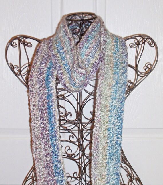 Hand Crocheted Scarf - SUPER SOFT Women's Blue Fashion Scarf, Woman's Apparel, Scarf, Fashion Accessory - Homespun Yarn in Tudor Blue