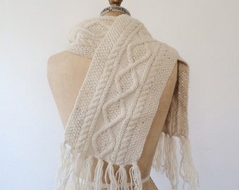 vintage scarf / vintage knit scarf / Donegal scarf