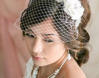 Crystal and Flower Mini Birdcage Veil, Birdcage Veil Headband, Bridal Veil, Wedding Veil, Bridal Headpiece, Wedding Headband