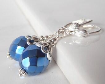 Royal Blue Earrings, Metallic Blue Dangles, Horizon Blue Wedding Jewelry, Bridesmaid Earrings, Holiday Jewelry, Gift for Women, Under 20