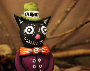 Mr. Kitty  - Handmade Paperclay Art Doll