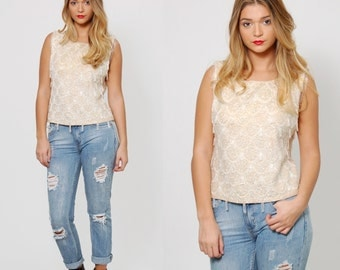 Vintage 50s SEQUIN Top Sequin & BEADED Evening Blouse Beaded Knit Top Sleeveless Retro GLAM Party Top