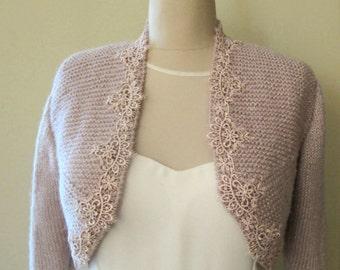 Bridal Bolero,Wedding Shrug Blush Pink Sparkle , Wool  Knit Bolero, Bridal Wrap, Bridal Jacket, with Lace Trim 3/4 Sleeve Sweater