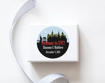 New York, NY Custom Wedding Welcome Stickers  -  SKYLINE DESIGN