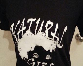 """Black  """"Natural Girl"""" T-Shirt  Natural Hair T-Shirt/ Black and White T-Shirt"""