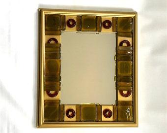 Gold Ring - Upcycled Bottle Glass Mosaic Wall Mirror