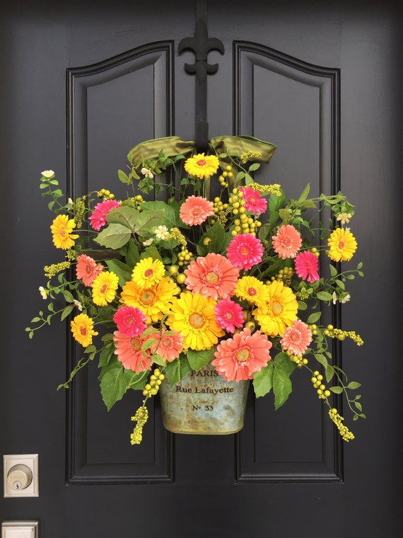 spring door decor spring wreath for front door gerber daisy wreath