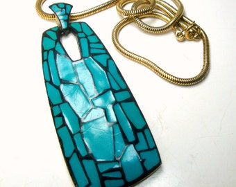 Eisenberg Signed Modernist Turquoise w Black Statement Pendant on Thick Gold Snake Chain, Immaculate