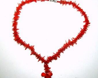 SALE, Petite Red Branch Coral Necklace, DESTASH Vintage Stick Coral Pendant, Short Necklace 16 Inches,  1980s Thailand Corals