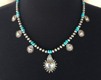 N36 Mini Squash Blossom Boho Style Necklace Sterling Silver Turquoise Santa Fe Pearls Mesilla Heart and Taos Hearts