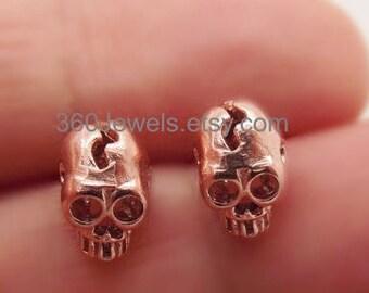 Immortal copper skull stud earrings, men's stud earrings, sterling silver posts, rose gold studs, skull stud earrings, 468A4