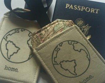 Luggage Tag, World Traveler, the world is your home, eco travel, vegan, khaki or Ivory