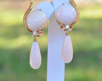 Fine Angelskin Coral and Diamonds 14K & 18K Earrings