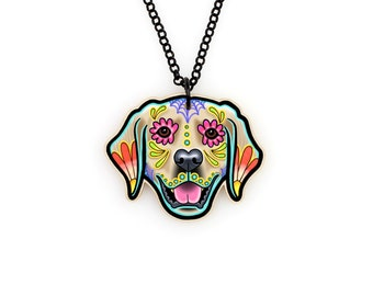 Golden Retriever Day of the Dead Sugar Skull Dog Necklace