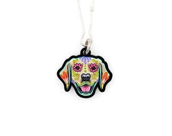 SALE Regularly 7.95 - Golden Retriever - Collar Charm / Key Chain / Zipper Pull - Day of the Dead Sugar Skull Dog