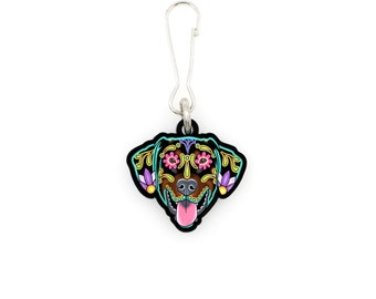 SALE Regularily 7.95 - Doberman - Floppy Ear Edition - Collar Charm / Key Chain / Zipper Pull - Day of the Dead Sugar Skull Dog