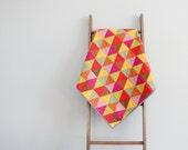 Modern Girl Quilt, Crib Quilt, Stroller Blanket, Baby Blanket - Triangles in Pink, Orange, Green, Brown, Yellow