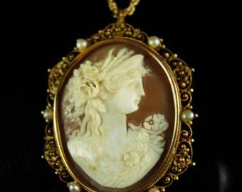 Large Antique Brooch Victorian cameo Portrait necklace pendant gold filigree pearls hand carved greek woman with rose