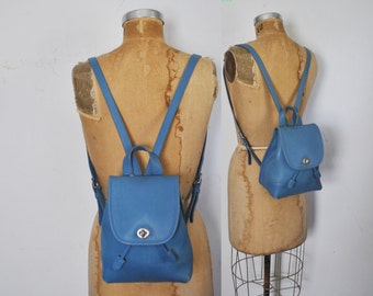 RARE Blue Coach Backpack Bookbag / Leather knapsack bag