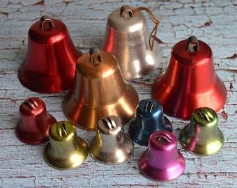 "Vintage Colorful Aluminum Bells Metal Christmas Ornaments 1"" & 2"""