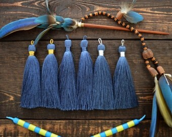 "Denim Blue, 3"" Luxe Silk Tassels, Handmade Jewelry Tassels, Long Tassels, Designer Jewelry Making Supplies / Choose Binding Finish, 2pcs"