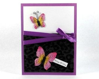 Feminine birthday card, leopard print, happy birthday cards, butterfly, butterflies, elegant birthday cards, women, wife, daughter