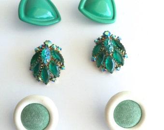 Lot of Vintage Clip On Earrings - Vintage Green Rhinestone, Green Bakelite & Suede Button Style Earrings
