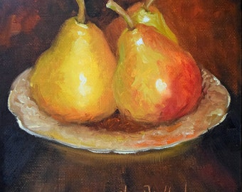 Pear Painting,Yellow Pears,Small Still Life Art, 6x6 Pear Still Life, Original Oil Painting by Cheri Wollenberg