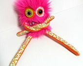 Handmade Plush Monster - Mini Monster Plush - Hot Pink Faux Fur - Hand Embroidered Cute Toy - OOAK Stuffed Monster Doll - Weird Plush