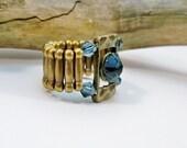 Blue Stretch Band Ring, Cocktail Ring, Dark Blue Stretch Ring, Bronze Ring, Swarovski Crystal Ring, Antique Gold