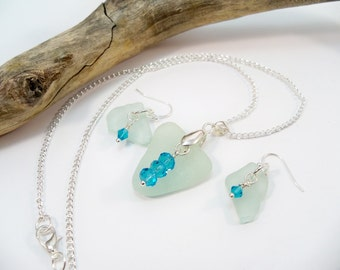 Sea Glass Necklace and Earring Set, Beach Glass, Crystal Earrings and Necklace, Beach Jewelry