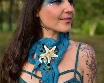 Felt Mermaid Necklace-Water Sprite Choker-Ocean Costume-Shell Necklace-Starfish Adornment-Mermaid Costume-Natural Jewelry-Costume OOAK