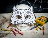 Halloween Printable Werewolf coloring mask, fun classroom Halloween activity or halloween birthday party favor for kids DIY instant download