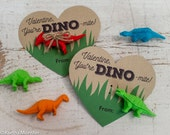 Printable Dinosaur Valentines Hearts for small dinosaur toy or dino eraser You're Dino-mite Instant Download DIY easy valentine's day gift