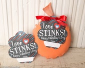 Printable Whoopee Cushion Valentine's Day Gifts LOVE STINKS instant download gift tags chalkboard simple easy file funny valentines handout
