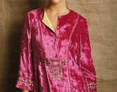Hot Pink Bohemian Tunic Top in Fuchia Velvet Fabric with Yellow and Black Boho 20's Style Tunic Blouse Arts and Craft Embroadiry