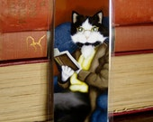 Cat Reading Book, Mr Bennet Tuxedo Cat, Pride and Prejudice Laminated Bookmark