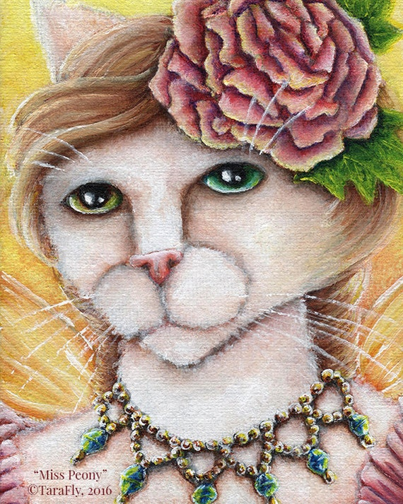 White Fairy Cat, Peony Flower Fantasy Art, 8x10 Archival Reproduction Print