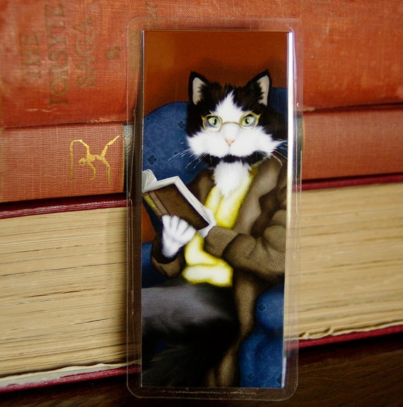 Cat Reading Book, Mr Bennet Tuxedo Cat, Pride and Prejudice Laminated Bookmark